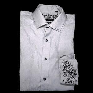 ZAGIRI Jaquard Embroidered Flip Cuff Dress Shirt
